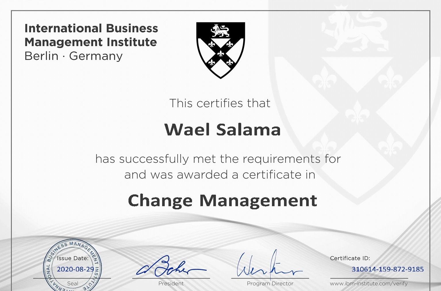 certificate management change certification salama wael